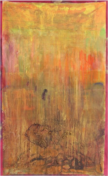 <p>Frank Bowling, <i>Ponsonby Welch overlooking Fyrish Maze</i>, 2012, Acrylic paint and acrylic gel on canvas, 304.8 x 188 cm, 120 x 74 in</p>