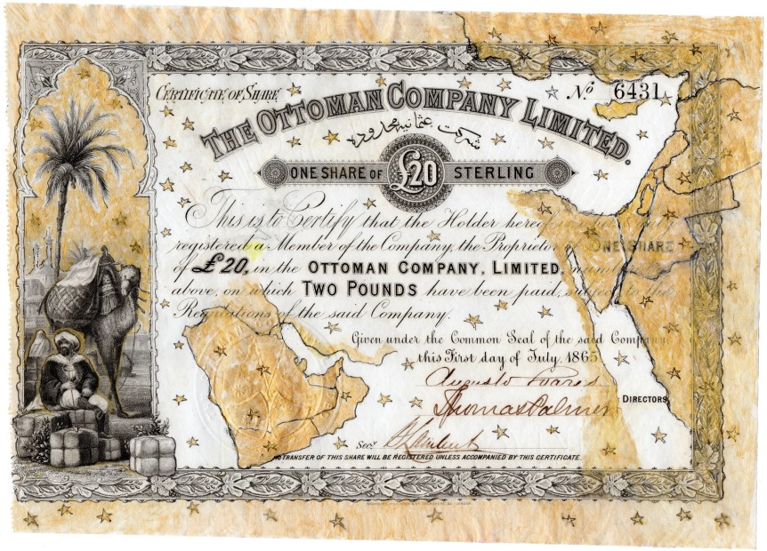 <p style=&#34;text-align: justify;&#34;>Hew Locke, <i>The Ottoman Company Limited</i>, 2014, Acrylic on found share certificate, 18.4 x 26 cm, 7 1/4 x 10 1/4 in</p>