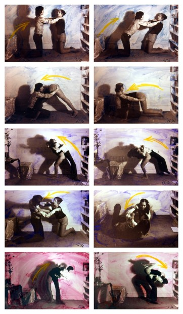 <p>Carolee Schneemann, <em>Exercise for Couples</em>, 1972, 10 silver prints with paint wash, Image courtesy of the artist</p>