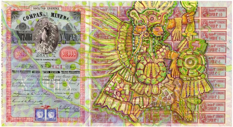 HEW LOCKE Compañía Minera la Purísima y Anexas 1, 2014 Acrylic on share certificate  37.2 x 62 cm 14 5/8 x 24 3/8 in