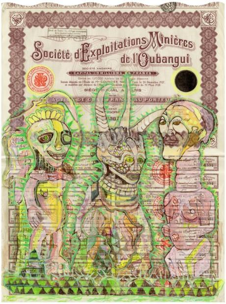 HEW LOCKE  Société d'Exploitations Miniéres de l'Obangui 1, 2014  Acrylic on share certificate  47.6 x 37.3 x 4 cm 18 3/4 x 14 3/4 x 1 5/8 in