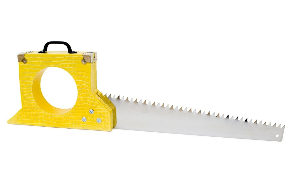 RICHARD SLEE Yellow Case Saw, 2014 ceramic and metal 32.5 x 105 x 8.5 cm 12 3/4 x 41 3/8 x 3 3/8 in