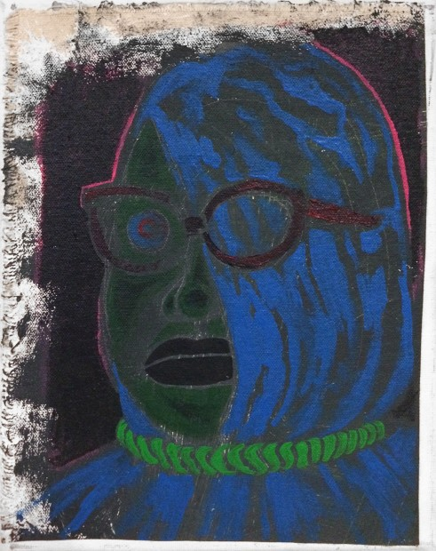 <p><b>Trenton Doyle Hancock</b><br /><i>Little Ploid Blue</i><span>, 2013</span><br /><span>acrylic on canvas</span><br /><span>25.4 x 20.3 x 7.6 cm</span><br /><span>10 x 8 x 3 in</span></p>