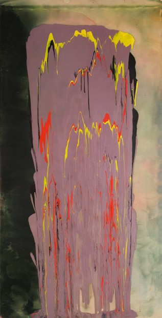 Frank Bowling, Grating Rhymes, 1975, acrylic on canvas, 233.5 x 119.5 cm, 91 7/8 x 47 1/8 in