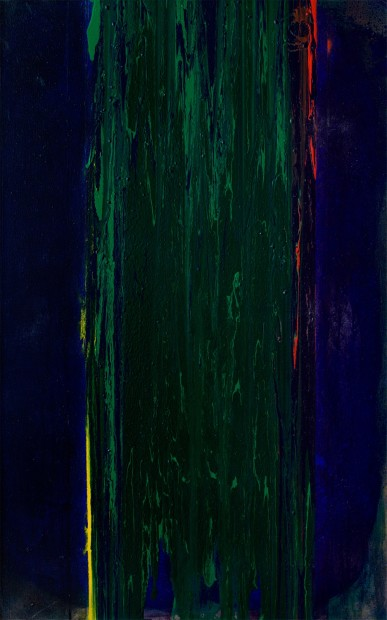 Frank Bowling, Green Dan 2, 1976, acrylic on canvas, 134.6 x 83.8 cm, 53 x 33 in