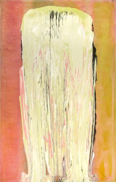 Frank Bowling, Irma Kurtz Visits Broadway, 1975, acrylic on canvas, 203.5 x 129 cm, 80 1/8 x 50 3/4 in