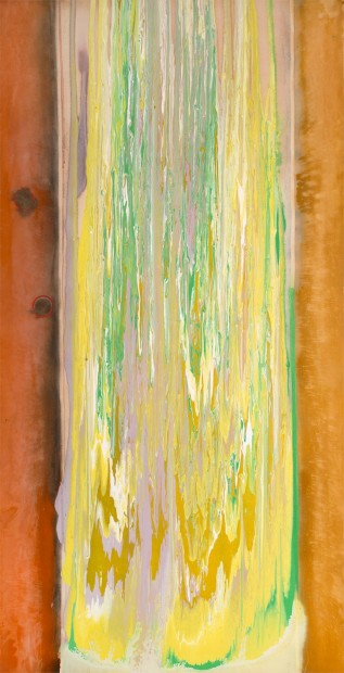 Frank Bowling, Sunkist, 1976, acrylic on canvas, 231 x 118 cm, 91 x 46 1/2 in