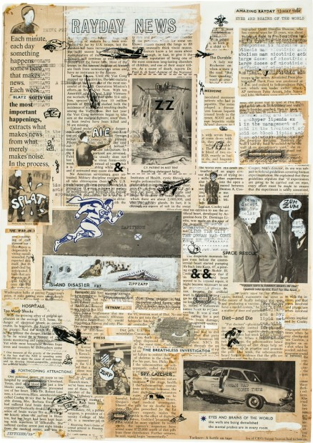 <p>Jeff Keen,&#160;<em>Rayday News,&#160;</em>1984, paint and newspaper collage, 48.5 x 36.3 cm, 19 1/8 x 14 1/4 in</p>