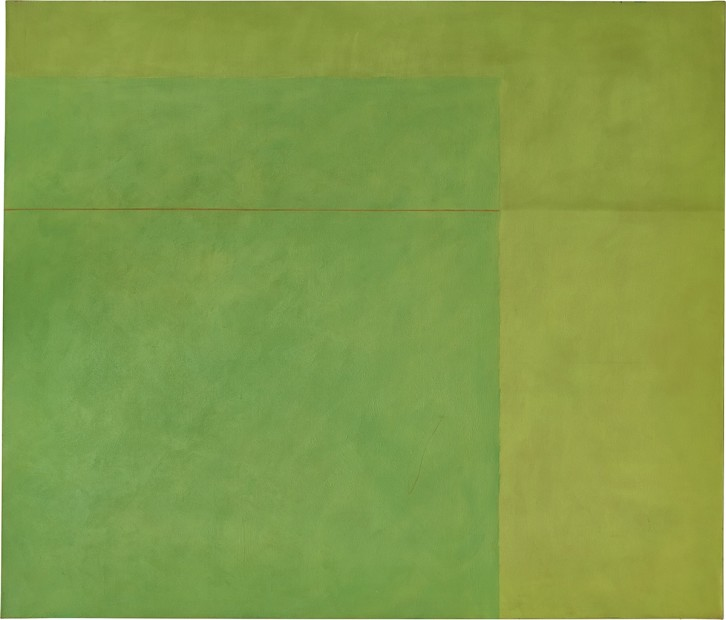 Virginia Jaramillo, Green Space, 1974, oil paint on canvas, 182.2 x 212.7 cm, 71 3/4 x 83 3/4 in