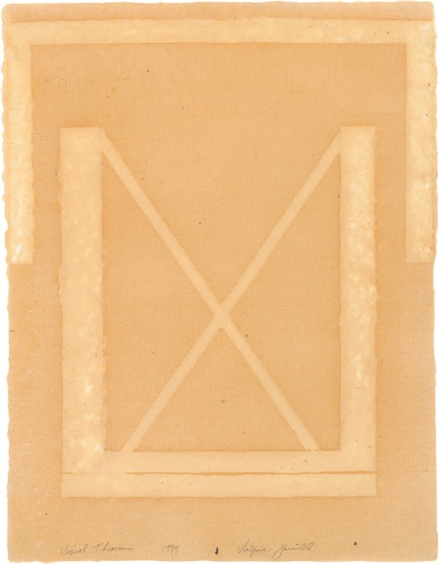 Virginia Jaramillo, Visual Theorems 14, 1979, Linen Fibre and Earth Pigments, 61 x 46.4 cm, 24 x 18 1/4 in