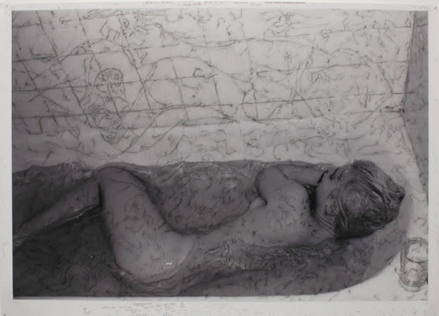 Sleeping with the Fishes on Your Baxck, 2006, India ink and acrylic on c-print mounted on aluminium, 88 x 125 cm