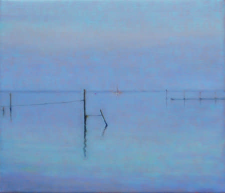 Seascape with Pole, 2007, Oil on canvas, 30 x 35 cm