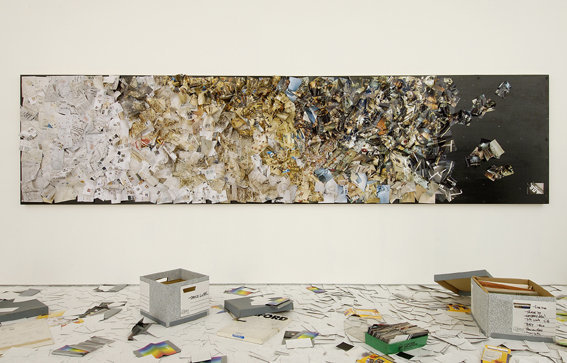 Abstract No. 2, 2007, photographs on salvaged panels, 120 x 480 cm