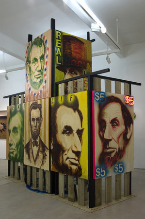 Ross Sinclair. Anglo American Love Song 1809-2009,2008. Acrylic varnishes on canvas, wood, neon and various mixed media 330 x 350 x 170 cm