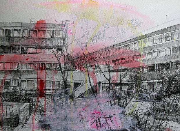 Laura Oldfield Ford. Aylesbury Burgess Park, 2008. Acrylic and ball point pen on watercolour paper. H 28 x W 38 cm