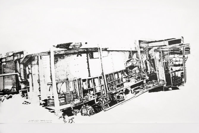<p>Dawn Clements, First Class (A Night to Remember, 1959) (image detail), Sumi ink on paper, 2006</p>