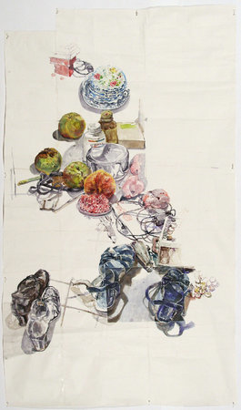 Dawn Clements, Kitchen Floor, Sennelier ink on paper 2010