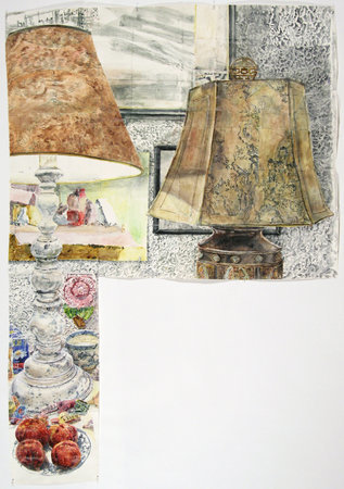 <p>Dawn Clements, Lamps (Color), Sennelier ink on paper</p>