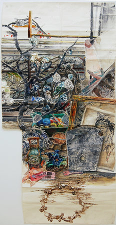 <p>Dawn Clements, Color Desk (Chinese Tree and Necklace), Sennelier ink on paper, 2010</p>