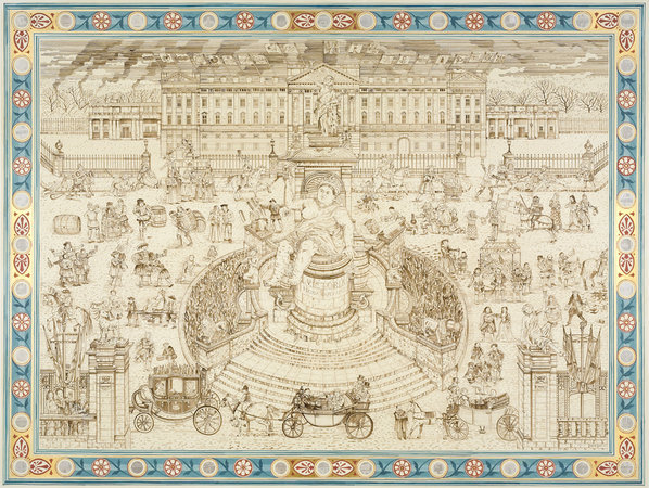 <p>Royal Drinking, 2010, ink on paper, 182.9 x 238.8 cm</p>