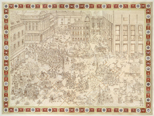 <p>The Fight Between Temperance and Liquor, 2010, ink on paper, 182.9 x 238.8 cm</p>