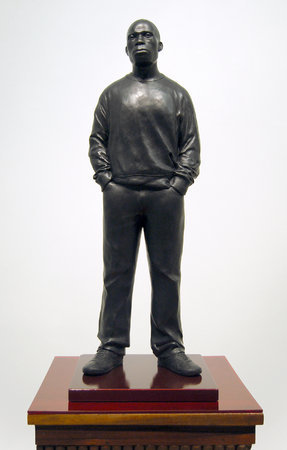 <p>Tom Price, New Drape (Shakespeare Road), 2010, bronze and spray painted steel, 158 x 37 x 37 cm</p>