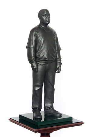 <p>Tom Price, Sportswear (Achilles Street), 2011, bronze, perspex, and wooden base, 175 x 36cm</p>