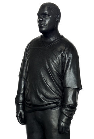 <p>Tom Price, Sportswear (Achilles Street), 2011, bronze, perspex and wooden base, 175 x 36 cm</p>