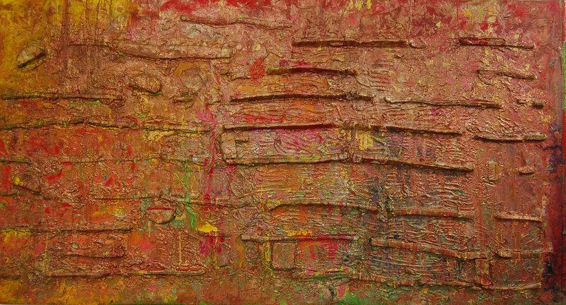 Frank Bowling, Alluviumwold, 1985, Acrylic on canvas, 184 x 337 cm