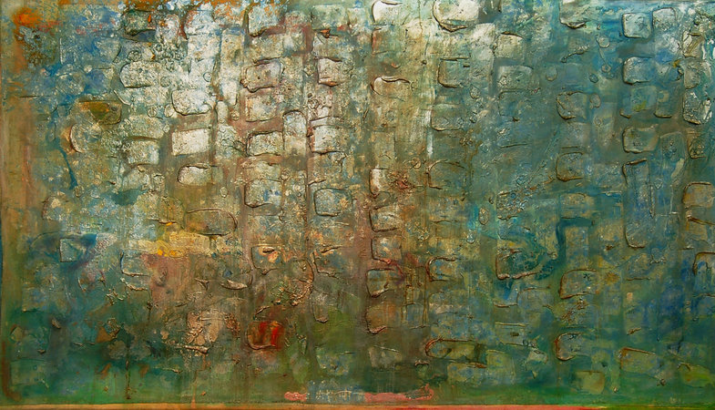 <p>Frank Bowling, Great Thames III, 1989, Acrylic on Canvas, 181 x 321 cm</p>