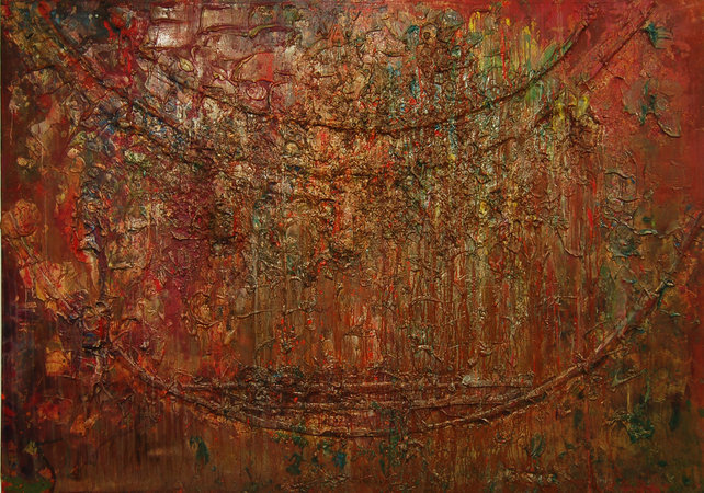Frank Bowling, Sacha Jason Quails Nest, 1987, Acrylic on Canvas, 181 x 321 cm