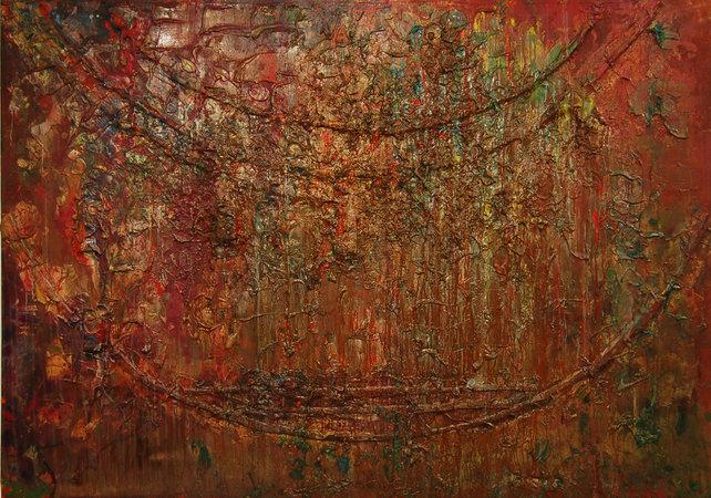 <p>Frank Bowling, Sacha Jason Quails Nest, 1987, Acrylic on Canvas, 181 x 321 cm</p>