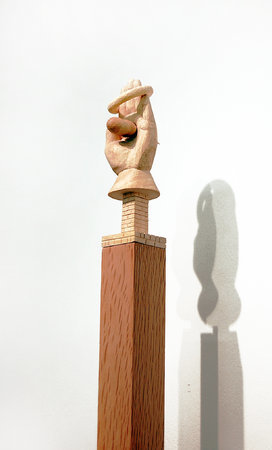 Jane Wilbraham, Friendly (detail), 2010, sycamore, 21x6x10cm