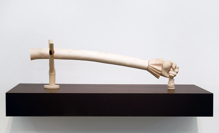 <p>Jane Wilbraham, (The Long Arm of) Captain Swing, 2010, sycamore, 52x16x10cm</p>