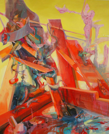 <p>Scaffold, 2011, Oil and acrylic on canvas, 61 x 50.8 cm, 24 x 20 in</p>