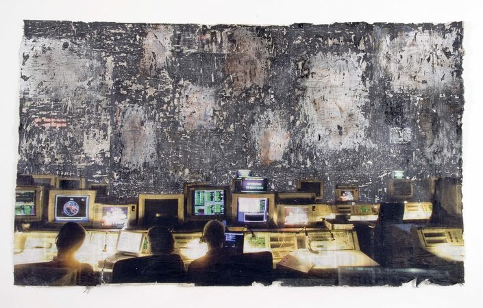 Control Room, 2006 pigment, charcoal and paer on newspaper, 5m x 2.7m