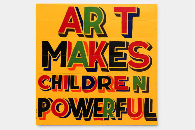<p>Art makes children powerful, 2012, signwriters paint on board, 60x60cm</p>