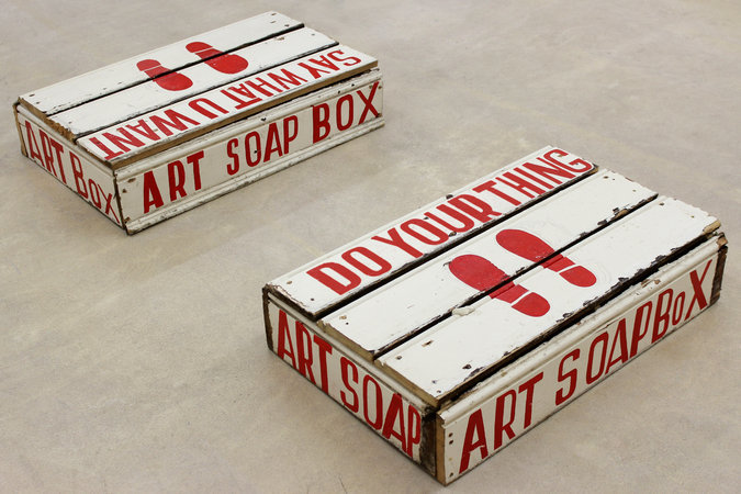 <p>Art Soapbox (x2), 2012, signwriters paint on board, 20 x 52 x 83 cm (x2)</p>