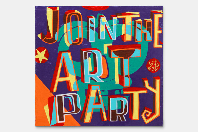 <p>Join the Art Party, 2012, signwriters paint on board, 60 x 63 cm</p>