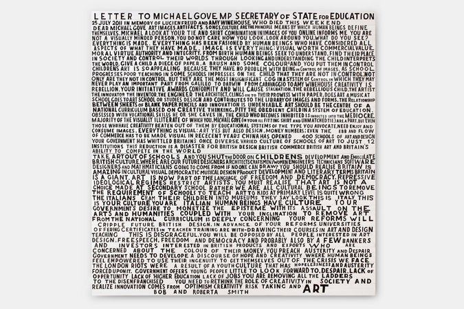 <p>Letter to Michael Gove, 2012, signwriters paint on board, 240x240cm</p>