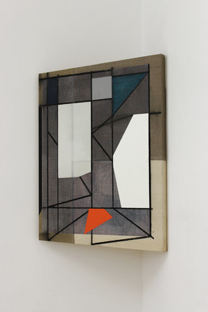 <p>OGVDS [tilted] A, , 2012, marker pen, oil paint, pencil and wax on linen</p>