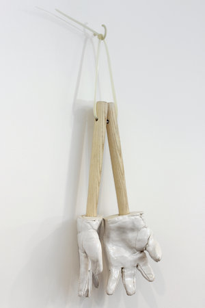 <p>Richard Slee, Three Fingers, 2012, ceramic, wood, cable ties, 47 x 28 x 8 cm</p>