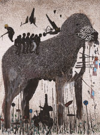 Omar Ba, Droit de Veto 1, 2012, oil, gouache, ink and pencil on corrugated carton, 210 x 150 cm