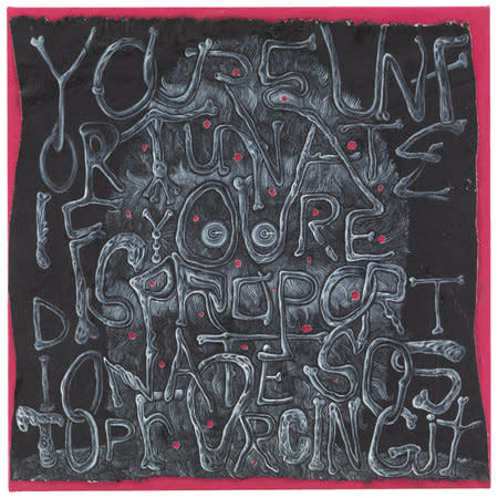 Trenton Doyle Hancock, You're Unfortunate if You're Disproportionate so Stop Forcing it, 2012, acrylic and mixed media on canvas, 61 x 61 x 5.1, \u00a9 The Artist / Courtesy James Cohan Gallery, New York/Shanghai