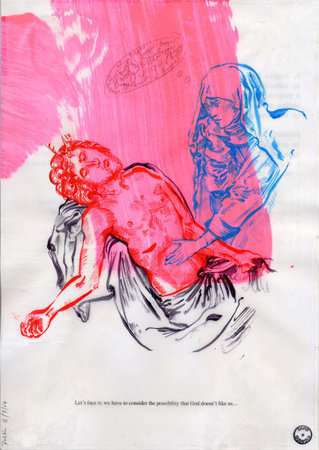 God Doesn't Like Us, 2007, Ink, pencil and computer printout on tracing paper over found paper, 29.8 x 21 cm