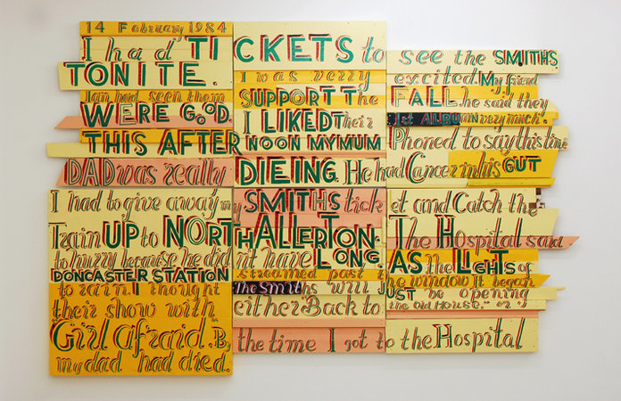 4 February 1984, I had tickets to see the Smiths, 2007, signwriters paint on board, 230 x 358 cm