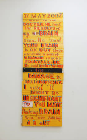 17 May 2007, the results of my brain scan, 2007, signwriter's paint on board, 250 x 91 cm
