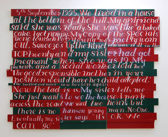 5th September 1995, my sister says it's ok. We can go, 2008, signwriters paint on board, 299 x 239 cm