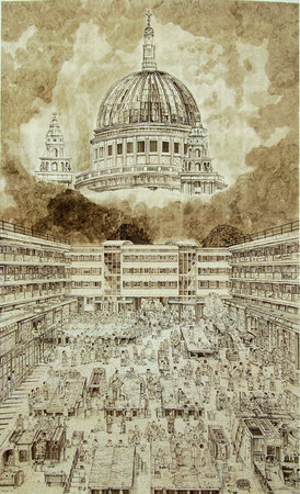 St Paul's Slave Market, 2006, Ink on Paper, 261 x 170cm
