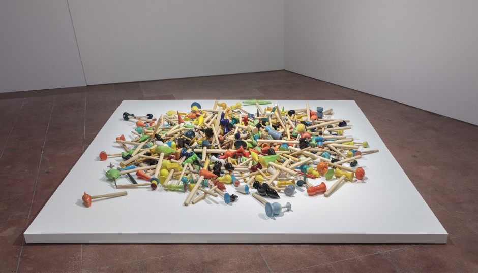 Richard Slee, Hammers, 2010 - ongoing, Glazed ceramic with wood hammer handles, wood stain, rubber, metal, and found additions in increasing numbers. Three hundred and twenty five pieces.